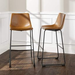 Walker Edison Douglas Urban Industrial Faux Leather Armless Bar Chairs, Set of 2, Whiskey Brown   Amazon (US)