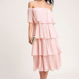 Gala Ready Blush Pink Off-the-Shoulder Ruffle Midi Dress | Lulus (US)