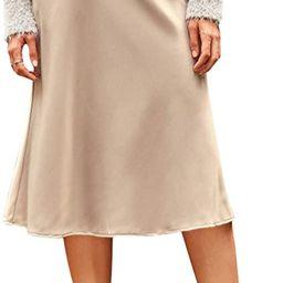 Verdusa Women's Elegant High Waist Satin A Line Flared Midi Skirt | Amazon (US)