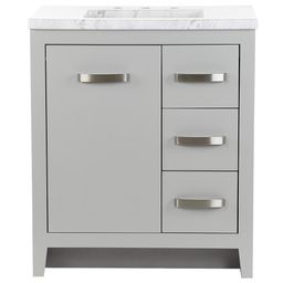 Home Decorators Collection Blakely 31 in. W x 19 in. D Bath Vanity in Sterling Gray with Stone Effec | The Home Depot