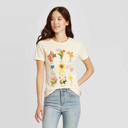 Women's Botanical Flowers Short Sleeve Graphic T-Shirt - Fifth Sun (Juniors') - Beige | Target