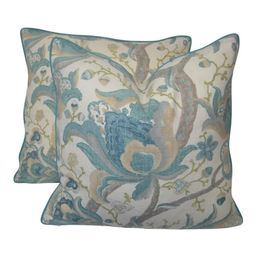 Jacobean Print Fabric Pillows - a Pair | Chairish