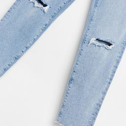 Stradivarius organic cotton slim mom jean with stretch and rip in light blue   ASOS (Global)