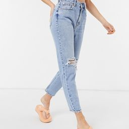 Pull&Bear mom jeans with rips in light blue   ASOS (Global)