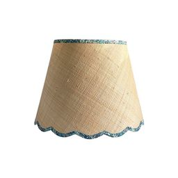 Green & Blue Floral Trimmed Raffia Scalloped Lamp Shade - Custom Made to Order   Etsy (US)