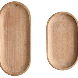 Mini Small Beech Serving Tray And Platter Oval Wood Tray Without Paint Small Wooden Plate Tablewa... | Amazon (US)