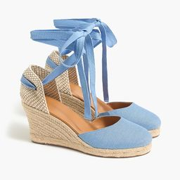 Chambray ankle-wrap espadrille wedges   J.Crew Factory