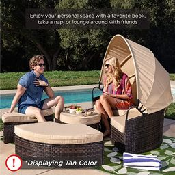 Best Choice Products 5-Piece Modular Patio Wicker Daybed Sectional Conversation Lounger Set w/ 2-...   Amazon (US)