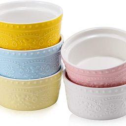BonNoces Porcelain Embossed Ramekins Souffle Bowls Dishes, 6 Oz Pudding Bowls Dishes Cup for Baki...   Amazon (US)