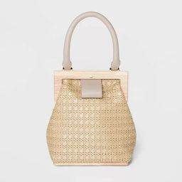 Estee & Lilly Magnetic Closure Raffia Wood Frame Mini Satchel Handbag - Beige | Target