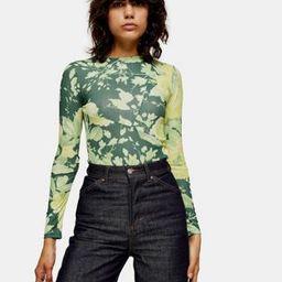 Topshop floral print mesh top in green | ASOS (Global)