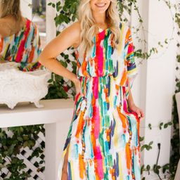 SUNSET ON THE BEACH ONE SHOULDER MAXI DRESS   Judith March