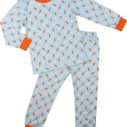 Blue Knit Bunny and Carrot Pajamas   Cecil and Lou