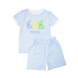 Blue Mini Stripe Knit Bunny Pajamas   Cecil and Lou