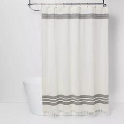 Striped Fringe Shower Curtain Off-White - Threshold™ | Target