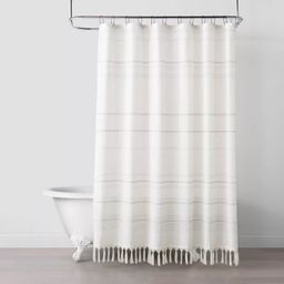 Woven Stripe Knotted Fringe Shower Curtain - Hearth & Hand™ with Magnolia | Target