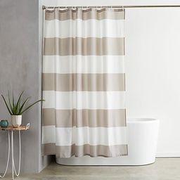 Amazon Basics Shower Curtain with Hooks, 72-Inch, Gray Stripe | Amazon (US)