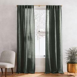 European Flax Linen Melange Curtain - Olive   West Elm (US)