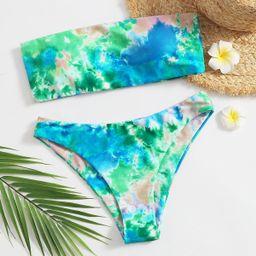 Tie Dye Bandeau Bikini Swimsuit | SHEIN