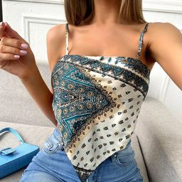 Scarf Print Tie Back Satin Cami Bandana Top | SHEIN