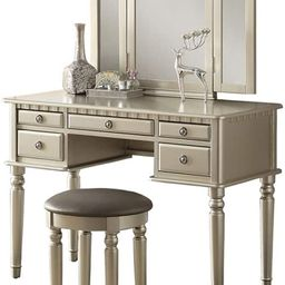 Bobkona F4079 St. Croix Collection Vanity Set with Stool, Silver | Amazon (US)