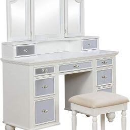 247SHOPATHOME Kosalie Vanity Table with Stool, White | Amazon (US)