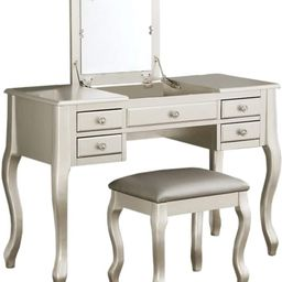 Benjara Benzara Cherub Featuring Stool and Mirror Silver Vanity Set, | Amazon (US)