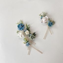 Flower hair pins dusty blue and white hair flowers set of | Etsy | Etsy (US)