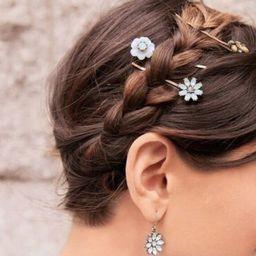 Flower White Crystal Rhinestone Stone Brass Hair Bobby Pins | Etsy | Etsy (US)