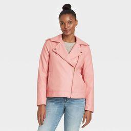 Women's Zipper Moto Jacket - Universal Thread™ Pink | Target