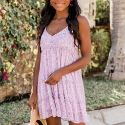 Looking for Adventure Ditsy Floral Tiered Purple Dress   The Pink Lily Boutique
