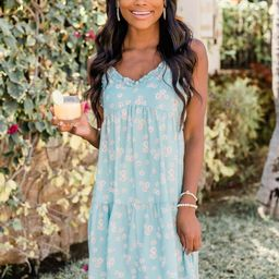 A Ray Of Sunshine Cami Floral Sage Dress   The Pink Lily Boutique