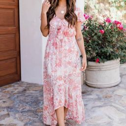 Somebody To Love Orange Floral Maxi Dress   The Pink Lily Boutique