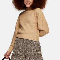 Topshop crop chevron stitch sweater in camel   ASOS (Global)