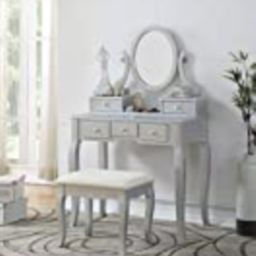 Roundhill Furniture Ashley Silver Wood Makeup Vanity Table and Stool Set, Sliver | Amazon (US)