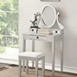 Roundhill Furniture Moniys Wood Moniya Makeup Vanity Table and Stool Set, Silver | Amazon (US)