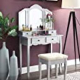 Roundhill Furniture Sanlo Wooden Vanity | Make Up Table and Stool Set | Silver | Amazon (US)