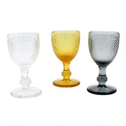 Diamond Pressed Glass Wine Glasses Set of 3 | World Market
