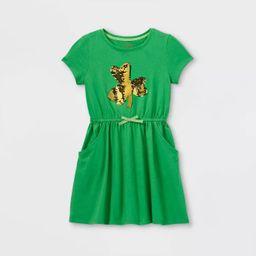 Girls' Flip Sequin Shamrock Short Sleeve Knit Dress - Cat & Jack™ Green   Target