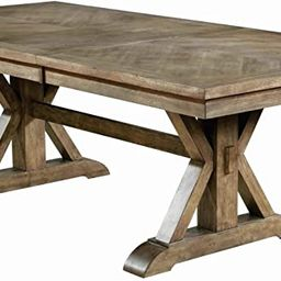 Benjara Transitional Style Wooden Dining Table with Trestle Base, Brown | Amazon (US)