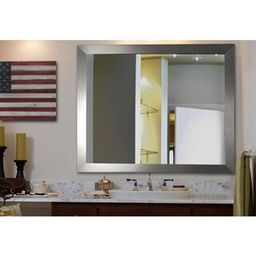 25 in. W x 35 in. H Framed Rectangular Bathroom Vanity Mirror in Silver | The Home Depot