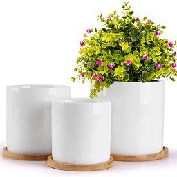 HOMENOTE 5.5/4.8/4 Inch Ceramic Planter Pot, Modern Decorative White Indoor Planters with Drainag... | Amazon (US)