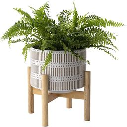 Ceramic Plant Pot with Wood Stand - 7.3 Inch Modern Round Decorative Flower Pot Indoor with Wood ... | Amazon (US)