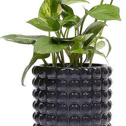 Hobnail Ceramic Planter, Dark Grey Flower Pot (7 Inches) | Amazon (US)