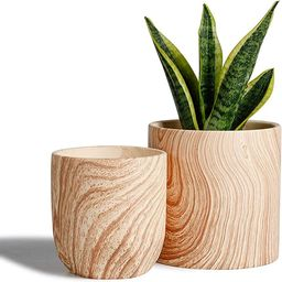 POTEY 053701 Ceramic Planter Flowerpots - 6 + 4.8 inch Modern Decorative Plant Pot Containers for... | Amazon (US)
