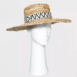 Women's Wide Brim Straw Boater Hat with Guitar Strap Band - Universal Thread™ Natural | Target