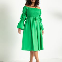 Off the Shoulder Dress with Puff Sleeves   Eloquii