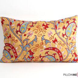 suzani pillow embroidery uzbek floral pillow cover silk pillow boho room decor ethnic cushions mo... | Etsy (US)