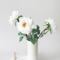 """White Real Touch Rose Artificial Flower - 27"""" 