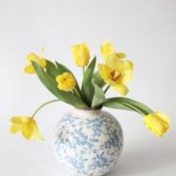 """Yellow Real Touch Tulip Fake Flower Bundle - 14"""" 
